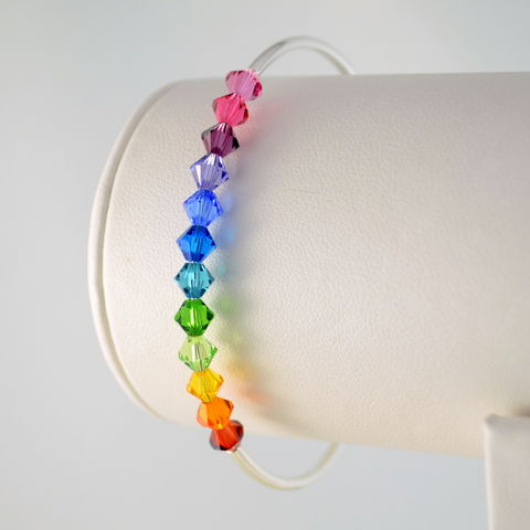 Rainbow,Bangle,with,Swarovski,Crystals,in,Silver,Plate,rainbow bracelet, rainbow bangle, rainbow jewelry, crystal bracelet, crystal bangle, crystal jewelry, Swarovski crystal, colorful bracelet