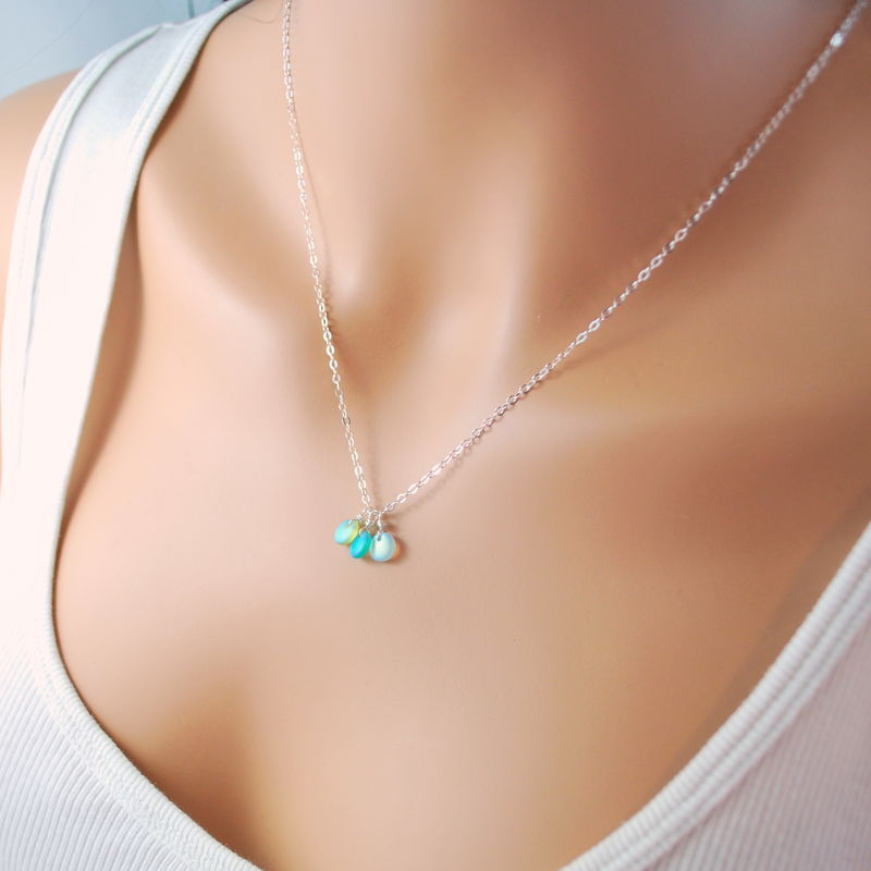 Beach Necklace with Frosted Glass in Sterling Silver - product images  of