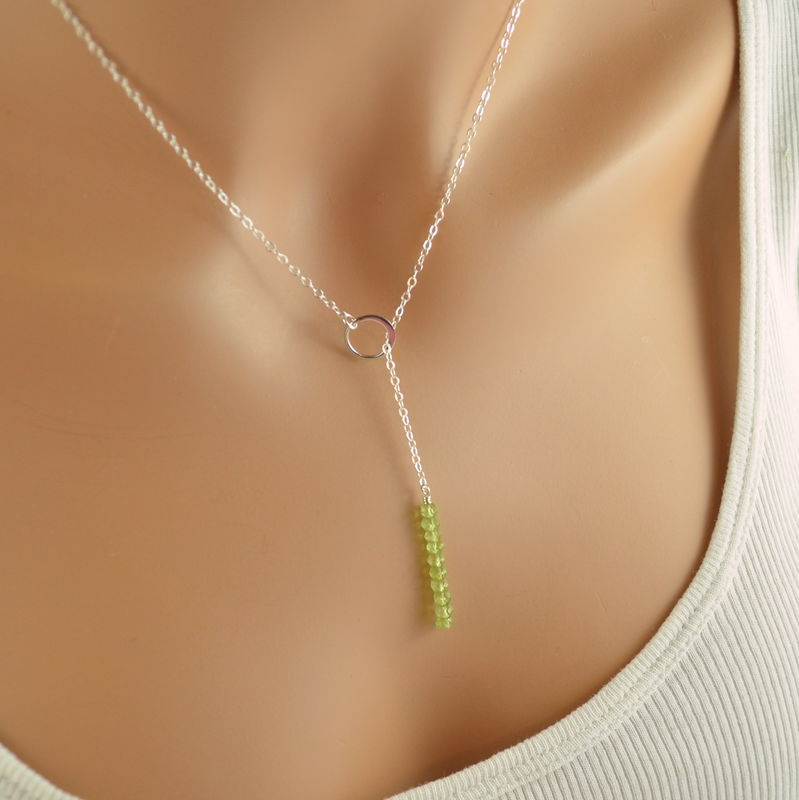 Modern Peridot Lariat Necklace in Sterling Silver - product images  of