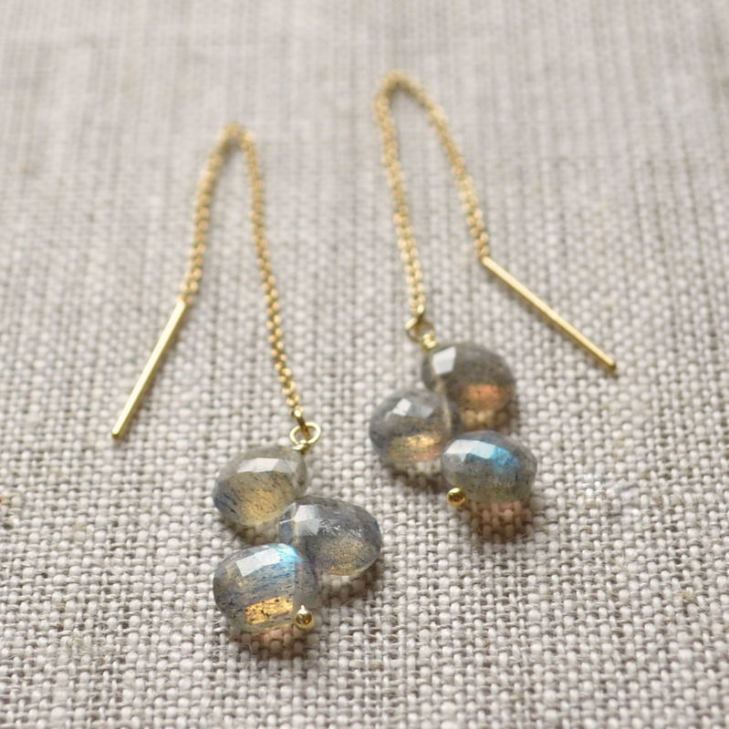 Labradorite Threader Earrings in Gold - product images  of