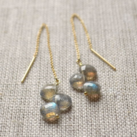 Labradorite,Threader,Earrings,in,Gold,labradorite earrings, labradorite jewelry, threader earrings, gold threaders, gemstone earrings, gemstone threaders, gemstone jewelry