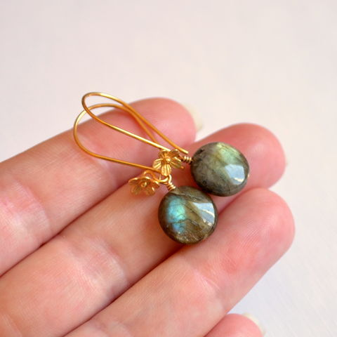 Coin,Shaped,Labradorite,Earrings,in,Gold,Vermeil,jewelry, earrings, labradorite, gemstone, genuine, real, gold, vermeil, coin