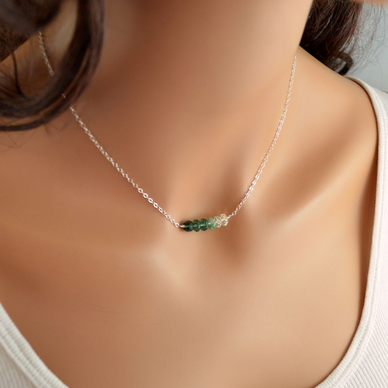 Green Row Necklace with Quartz in Sterling Silver - product images  of
