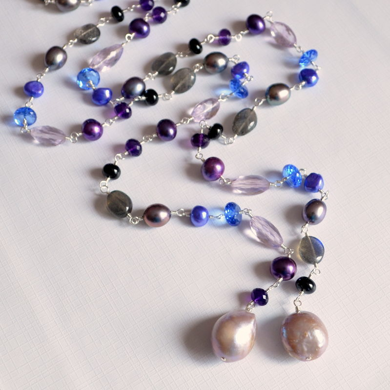 Pearl and Gemstone Lariat Necklace in Sterling Silver - product images  of
