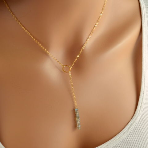 Simple,Labradorite,Lariat,Necklace,in,Gold,labradorite lariat, labradorite necklace, labradorite jewelry, simple lariat, simple necklace, gemstone lariat