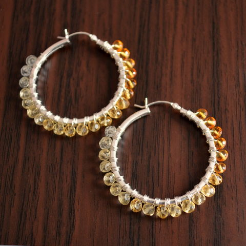 Shaded,Citrine,Hoops,in,Sterling,Silver,citrine hoops, citrine earrings, citrine jewelry, real citrine, gemstone hoops, gemstone earrings, ombre jewelry