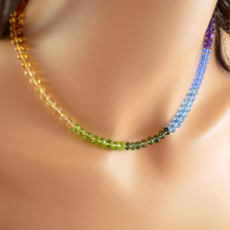 Bright Rainbow Gemstone Necklace, Hand Knotted with Silk - product images  of