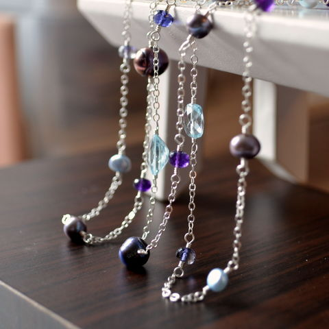 Long,Gemstone,and,Pearl,Necklace,in,Sterling,Silver,long necklace, silver necklace, pearl necklace, gemstone necklace, iolite jewelry, peacock pearl necklace