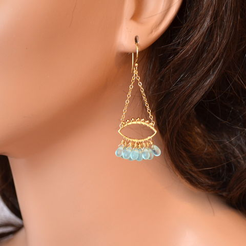 Aqua,Glass,Chandelier,Earrings,in,Gold,chandelier earrings, glass earrings, gold earrings, gold chandeliers, aqua earrings