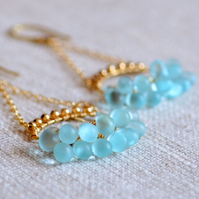 Aqua Glass Chandelier Earrings in Gold - product images  of