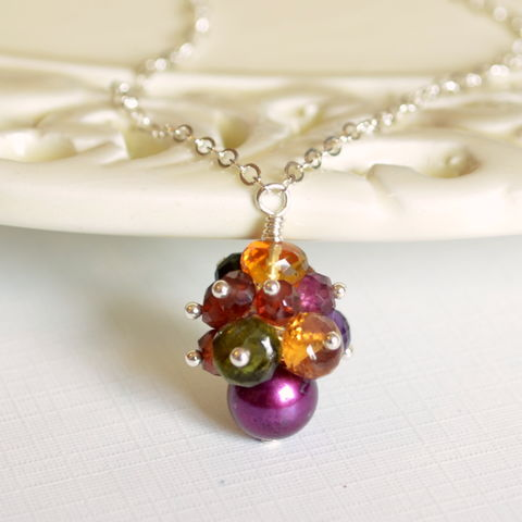 Fall,Gemstone,Necklace,in,Sterling,Silver,Autumn necklace, Fall jewelry, citrine necklace, freshwater pearl, Autumn colors, gemstone necklacee