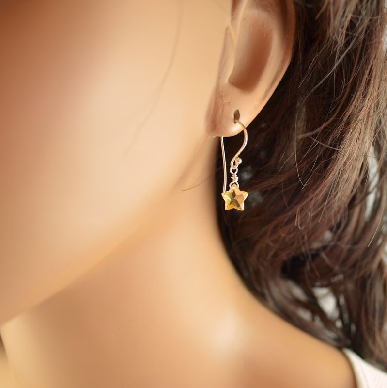 Citrine Star Earrings in Sterling Silver - product images  of