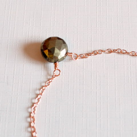 Pyrite,Choker,Necklace,in,Rose,Gold,pyrite necklace, pyrite choker, gemstone necklace, gemstone choker, rose gold choker, rose gold necklace