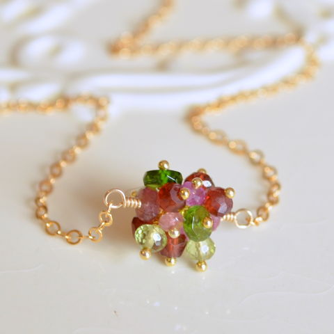 Holiday,Cluster,Necklace,in,Gold,christmas necklace, christmas jewelry, holiday jewelry, gemstone necklace, cluster necklace