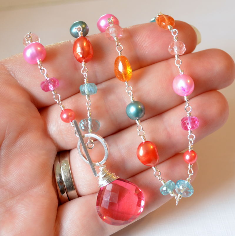 Orange Pink and Teal Toggle Necklace in Sterling Silver - product images  of