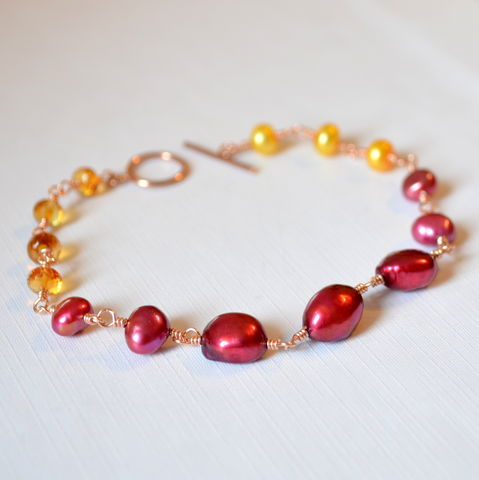Pearl,Bracelet,with,Citrine,in,Rose,Gold,pearl bracelet, pearl jewelry, citrine bracelet, gemstone bracelet, red and yellow, Fall jewelry