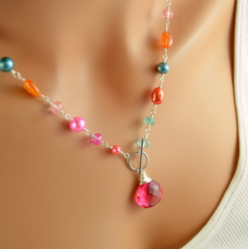Coral Pink and Orange Toggle Necklace in Sterling Silver - product images  of