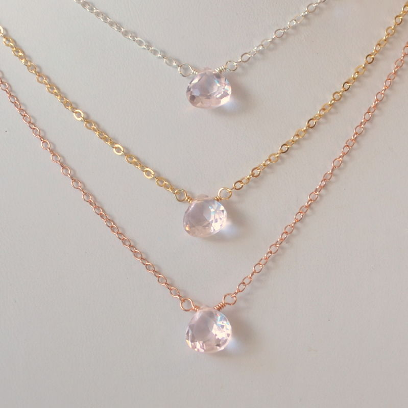 Simple Morganite Quartz Choker in Sterling Silver - product images  of