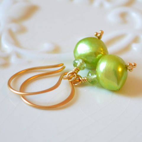 Bright,Green,Earrings,with,Pearl,and,Peridot,in,Gold,chartreuse earrings, chartreuse jewelry, green earrings, bright earrings, peridot earrings, pearl earrings