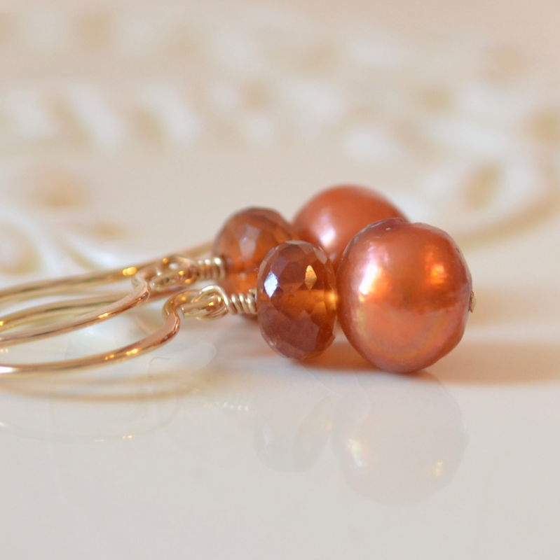 Burnt Orange Earrings with Hessonite Garnet and Pearl in Gold - product images  of