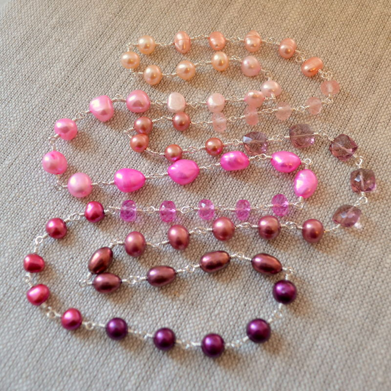 Long Plum Pink and Peach Necklace in Sterling Silver - product images  of