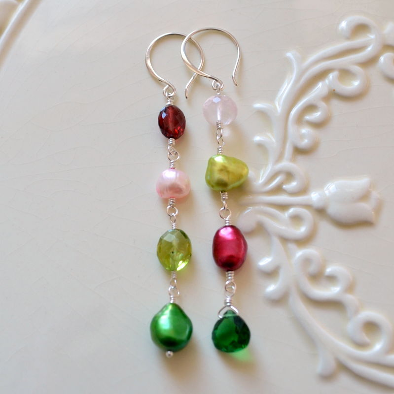 Mismatched Earrings in Red and Green for Christmas - product images  of