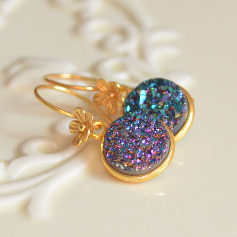 Druzy Earrings, Teal and Purple, Gold Vermeil Jewelry, Flower Floral Earwires, Drop Earrings, Free Shipping - product images  of