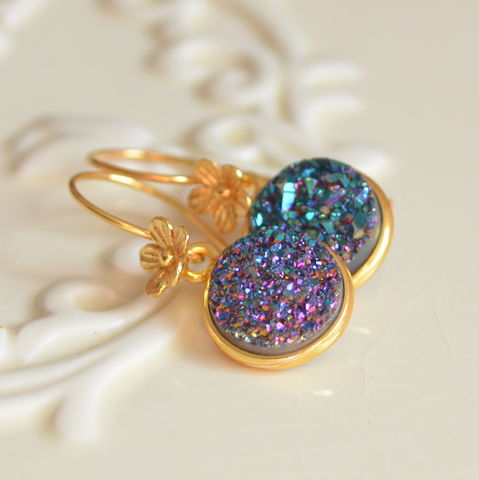 Druzy,Earrings,,Teal,and,Purple,,Gold,Vermeil,Jewelry,,Flower,Floral,Earwires,,Drop,Free,Shipping,druzy earrings, druzy jewelry, gold earrings, gold vermeil, gold jewelry, teal earrings, purple earrings