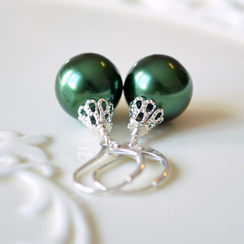 Green Christmas Ball Earrings in Sterling Silver - product images  of