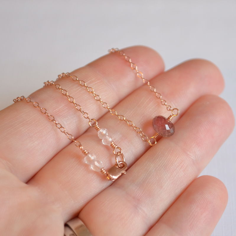 Watermelon Tourmaline Necklace in Rose Gold - product images  of