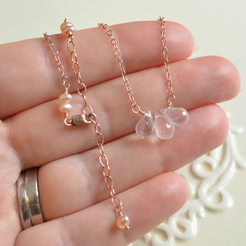 Rose Gold Necklace with Rose Quartz Gemstones - product images  of