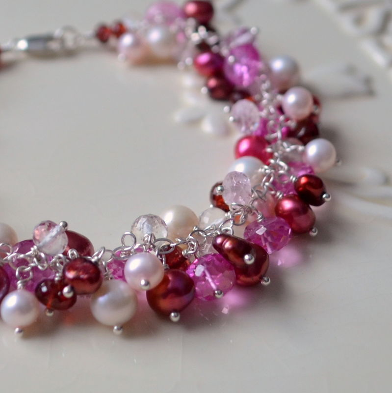 Valentines Day Cluster Bracelet in Red and Pink - product images  of