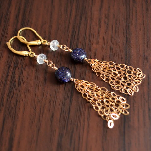Moonstone,and,Goldstone,Tassel,Earrings,in,Gold,tassel earrings, tassel jewelry, gold earrings, moonstone earrings, goldstone jewelry