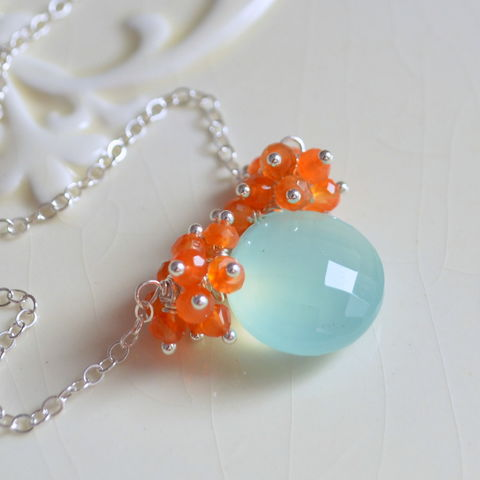 Carnelian,and,Chalcedony,Necklace,in,Silver,gemstone necklace, gemstone jewelry, chalcedony necklace, carnelian necklace, silver necklace