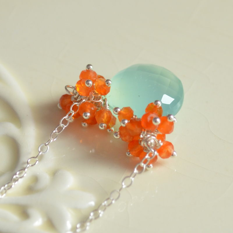 Carnelian and Chalcedony Necklace in Silver - product images  of