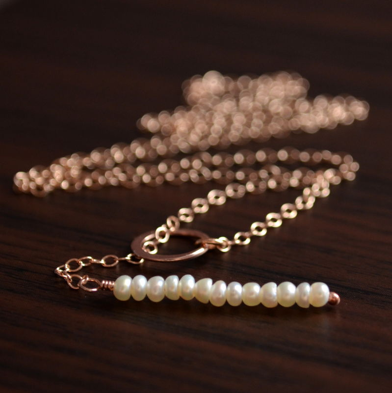 Simple Lariat Necklace in Rose Gold with White Pearls - product images  of