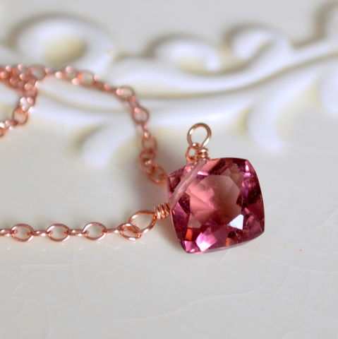 Plum,Quartz,Necklace,in,Rose,Gold,plum necklace, plum jewelry, quartz necklace, gemstone necklace, rose gold necklace