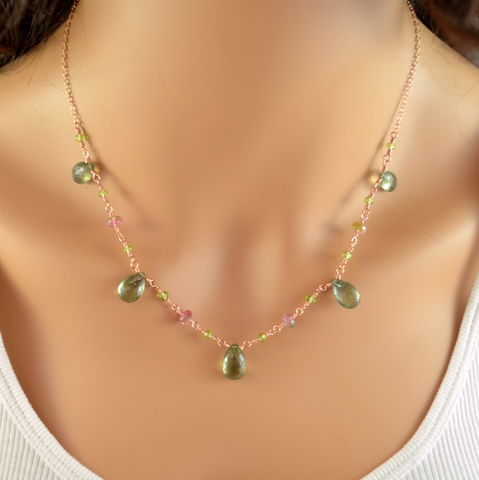 Moss,Aquamarine,Necklace,with,Tourmaline,and,Peridot,in,Rose,Gold,moss aquamarine, gemstone necklace, gemstone jewelry, watermelon tourmaline, tourmaline jewelry, rose gold necklace