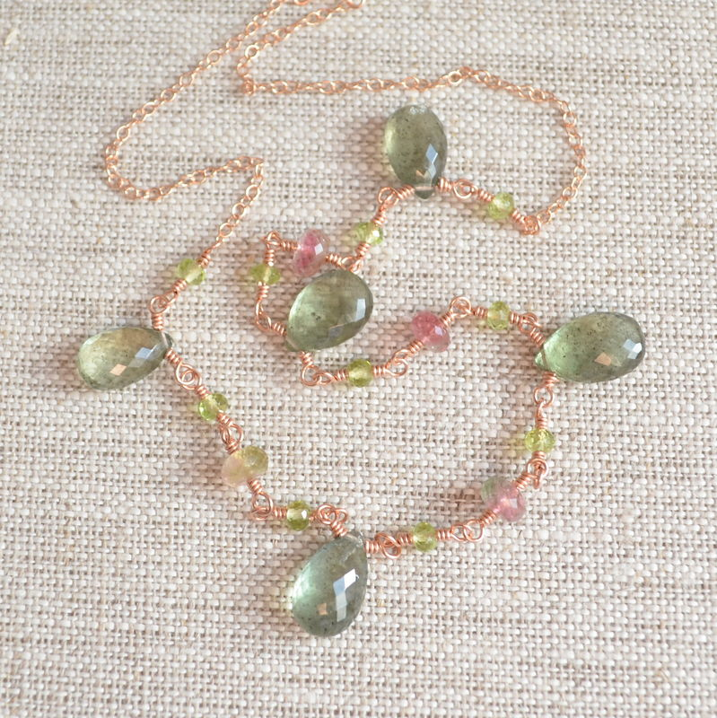 Moss Aquamarine Necklace with Tourmaline and Peridot in Rose Gold - product images  of