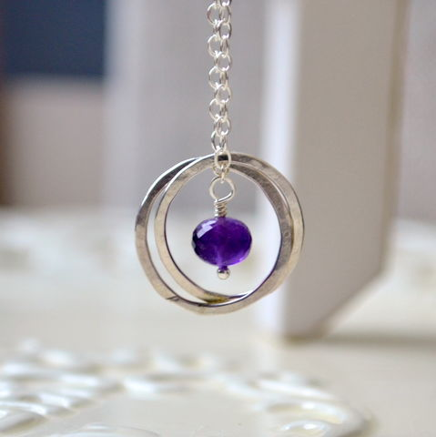 Birthstone,Necklace,for,Twins,in,Sterling,Silver,twins necklace, birthstone necklace, amethyst jewelry, amethyst necklace