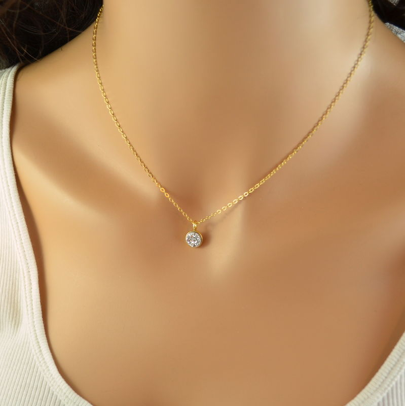 Silver Druzy Necklace with Gold Filled Chain - product images  of