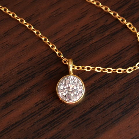 Silver,Druzy,Necklace,with,Gold,Filled,Chain,druzy necklace, druzy jewelry, druzy pendant, gold necklace, silver drusy