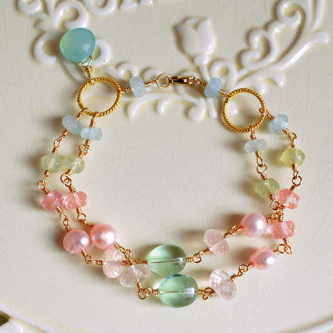 Pearl,and,Gemstone,Pastel,Bracelet,in,Gold,pastel bracelet, gemstone bracelet, aquamarine jewelry, Spring wedding jewelry