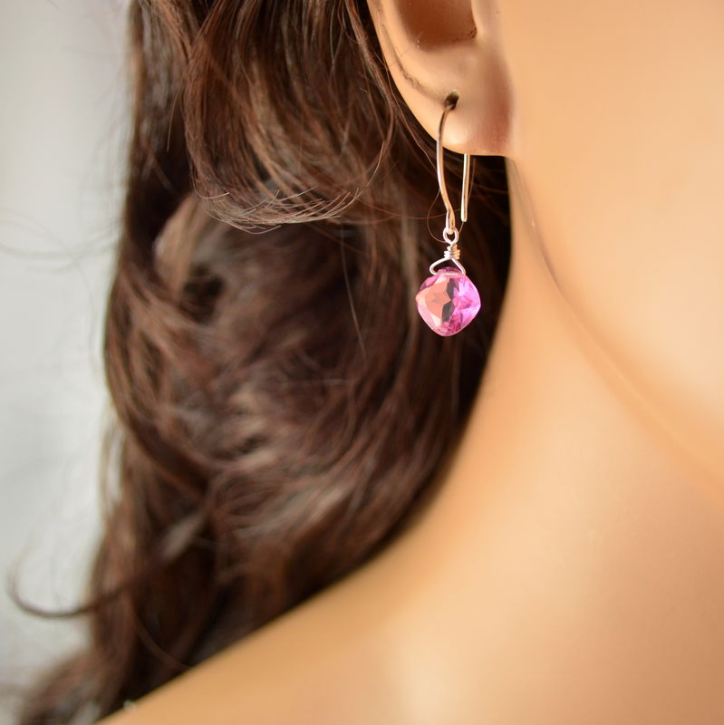 Bright Pink Quartz Earrings in Sterling Silver - product images  of