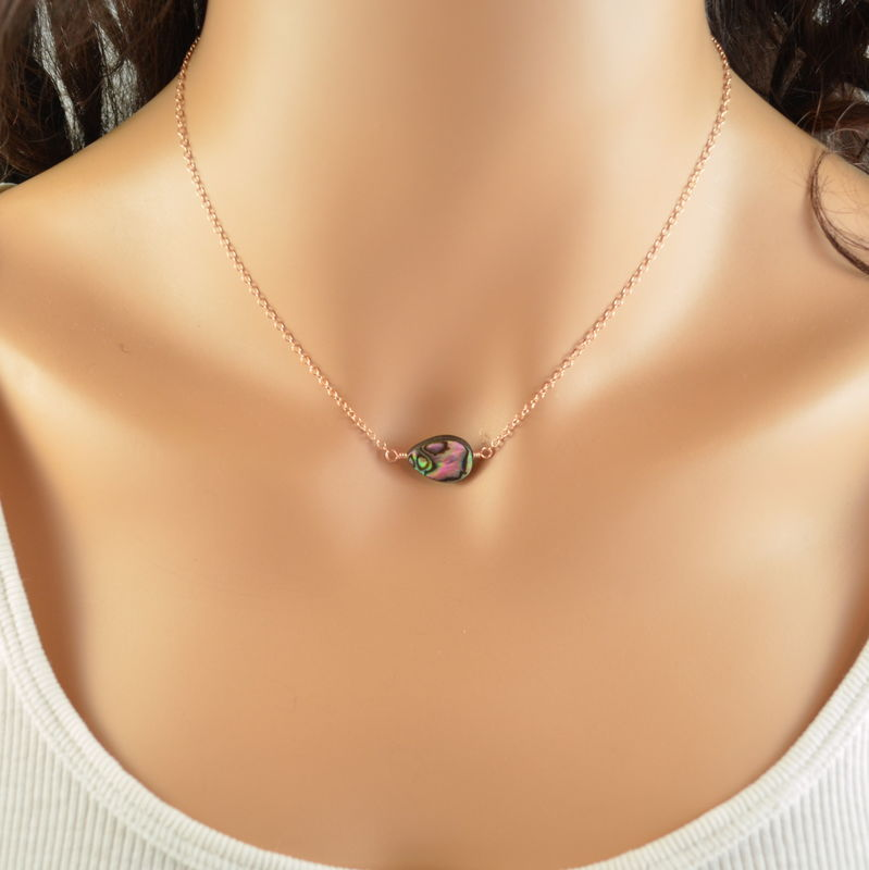 Simple Abalone Necklace in Rose Gold - product images  of