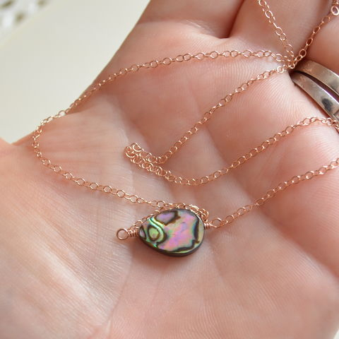 Simple,Abalone,Necklace,in,Rose,Gold,abalone choker, abalone necklace, abalone jewelry, paua shell jewelry, beach necklace