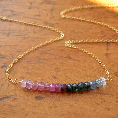 Tourmaline,Row,Necklace,in,Gold,tourmaline necklace, tourmaline jewelry, real tourmaline, gemstone necklace, row necklace
