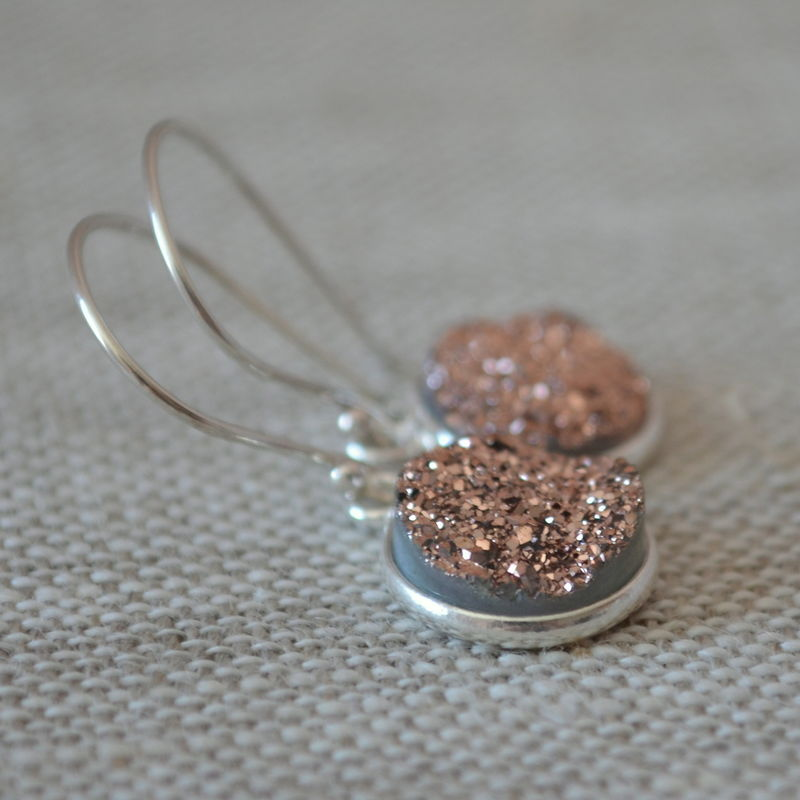 Copper Druzy Earrings in Sterling Silver - product images  of