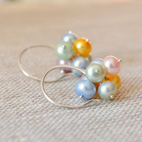Pastel,Pearl,Cluster,Earrings,in,Sterling,Silver,jewelry, earrings, Easter, freshwater pearl, pastel, cluster, sterling silver, Spring
