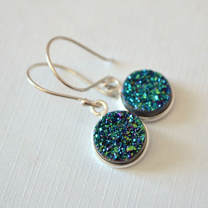 Teal Druzy Earrings in Sterling Silver - product images  of